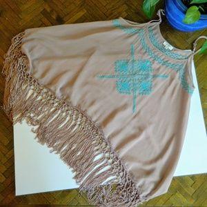 Umgee Boho Sheer Tan Cami Turquoise embroidery